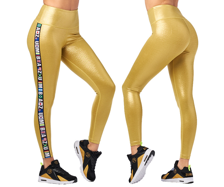 Zumba Metallic High Waisted Ankle Leggings Toko Zumba Fitness