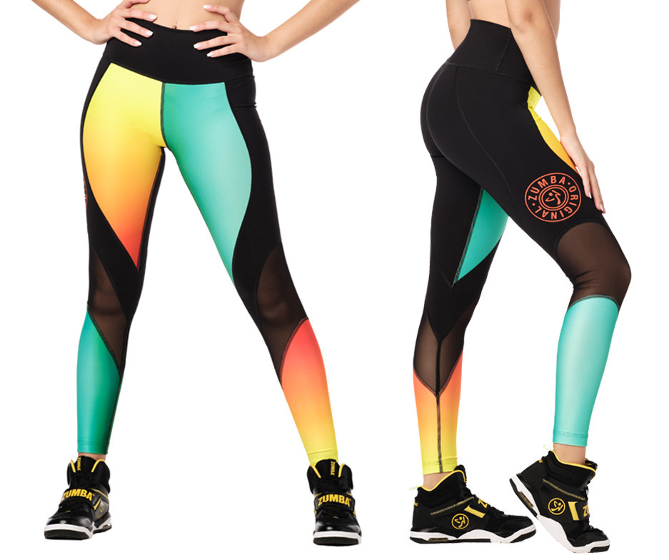 Zumba Surf High Waisted Panel Leggings Toko Zumba Fitness